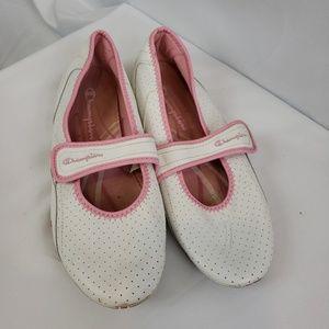 Champion white & pink slip ons size 11